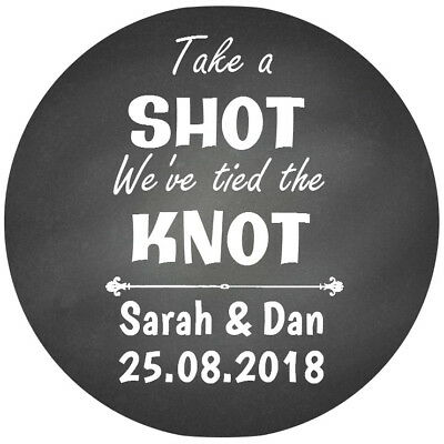 24Personalised Gloss  We Tied The Knot Wedding Favour Stickers Chalkboard Type