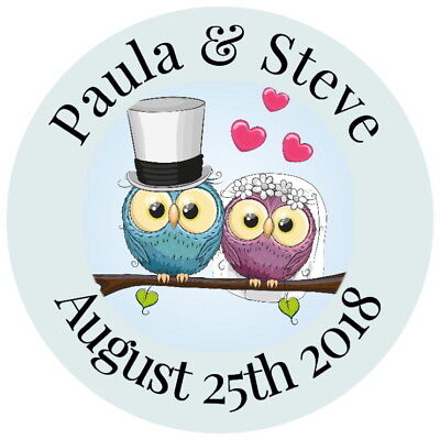 Personalised gloss wedding favour thank you stickers bride & groom comedy owls