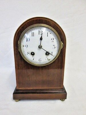 An Edwardian French Inlaid Mahogany Chiming Mantel Clock