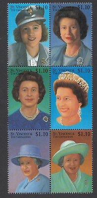 (19598) St Vincent & Grenadines MNH Queen 75th block 2001 unmounted mint