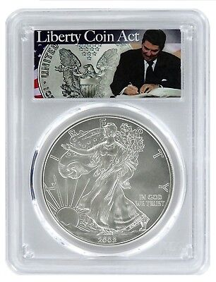 2008 1oz American Silver Eagle PCGS MS70 - Liberty Coin Act Label
