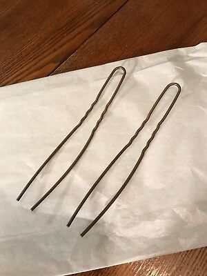 "Antique Victorian Brass/Metal LARGE 6"" Hair Pins/Set of 2 Matching"