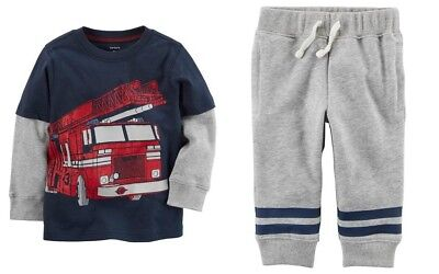 Carters Infant Boy Firetruck Layered-Look Tee & Gray Sweat Pants NWT outfit
