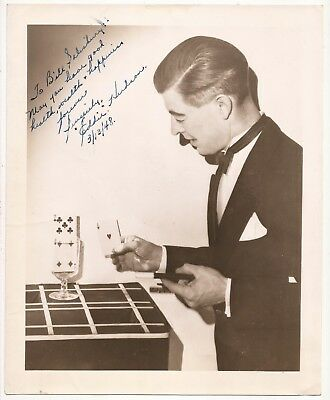 Photo Of Eddie Hudson Performing Rising Card Trick Signed To Bill Salisbury 1948