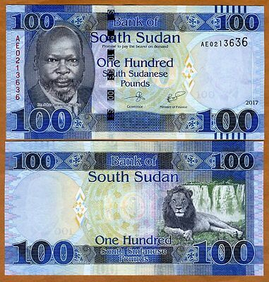 South Sudan, 100 Pounds, 2017, P-10c, New date, New Sig. UNC > Lion