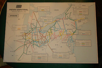 3 Orig Vtg Penn Central Regions Divisions Maps Feb 1 1968