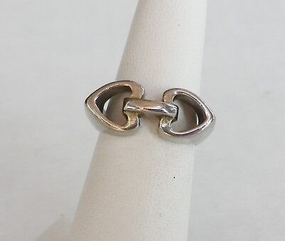 Vintage Silver 2 CONNECTING HEARTS RING   Size 7     Joined Hearts Band Ring