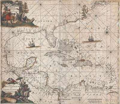 1680 De Wit Map of the West Indies and the North American Coast
