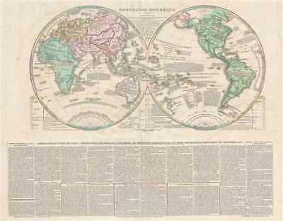 1835 Las Cases (Lesage) and Renouard Map of the World in Hemispheres