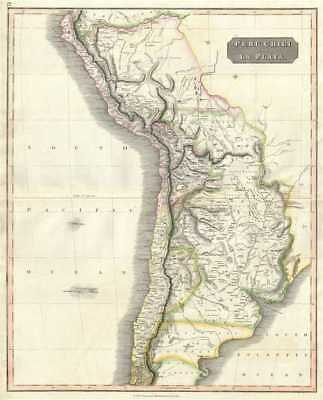 1817 Thomson Map of Peru, Chile and Argentina