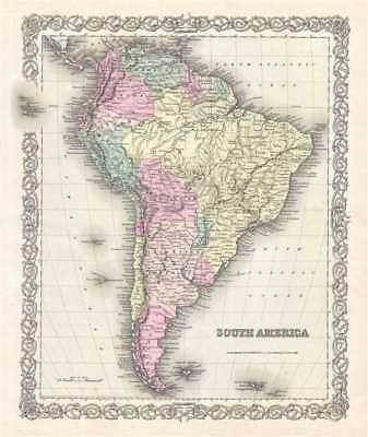 1856 Colton Map of South America