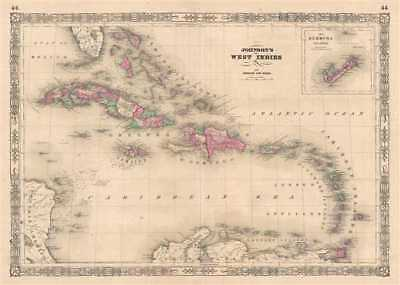 1864 Johnson Map of the West Indies