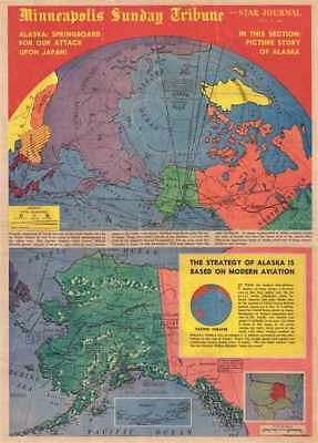 1942 Nelson and Minneapolis Sunday Tribune Map of Alaska and North Pole