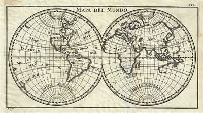1754 Gabriel Ramirez Map of the World in Hemispheres