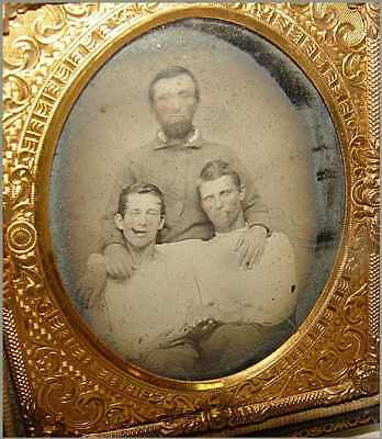 Ruby Ambrotype 6th Plate 3 Guys Father & Two Sons 2 Smoking Cigars MOP Case