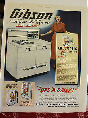 1948 GIBSON UPS-A-DAISY STOVE Print Ad from Ladies Homes Journal