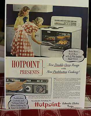 1940s HOTPOINT PRESENT DOUBLE OVEN RANGE, PUSHBUTTON print ad