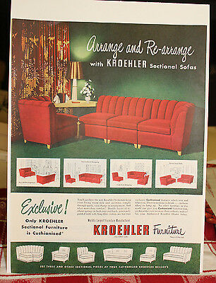 1940s 50s Kroehler Furniture Cushionized Sectional Print Ad 7 50