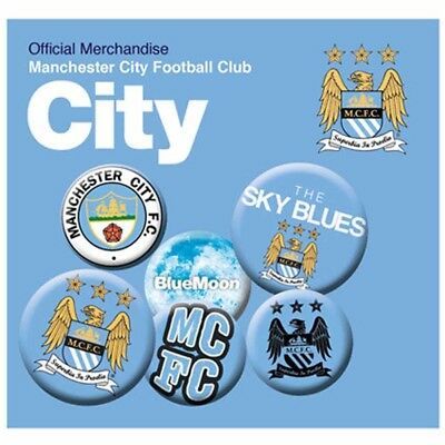 Manchester City Football Club Six Button Badges Set with Free UK P&P