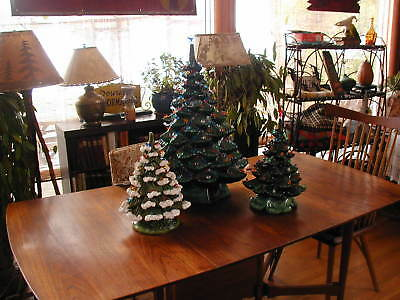 """Vintage Ceramic Christmas Tree 19"""" Tall with Red Star"""