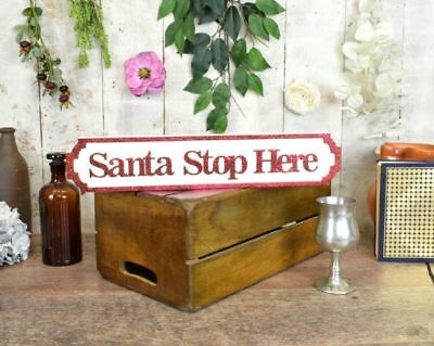Miniature Santa Stop Here Vintage Style Wooden Road Sign Christmas Decoration