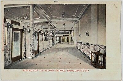 1905 Interior of Second National Bank at Orange New Jersey NJ postcard view