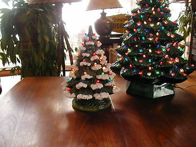"""Vintage Ceramic Christmas Tree 16"""" Tall with Snowy Branches"""