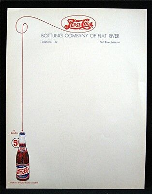 Old 5 Cent Pepsi Cola Bottling Co Letterhead Flat River Mo Old Unused Dist Stock