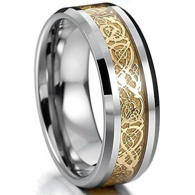 Silver Gold Two Tone Tungsten Ring Band Irish Celtic Knot Dragon Comfort Fit