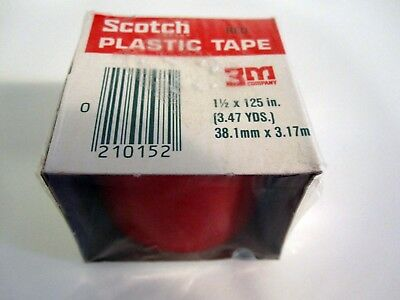 "12 ROLLS 3M SCOTCH Red Colored Plastic Tape Repair/ID 1 1/2"" x 125"" 3.47 yds NEW"