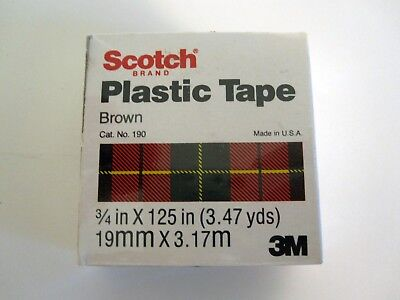 "3 ROLLS 3M SCOTCH Brown Colored Plastic Tape Repair/ID 3/4"" x 125"", 3.47 yds NEW"