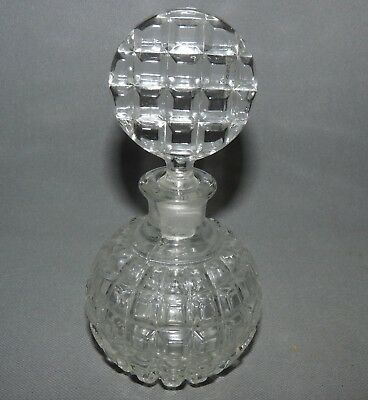 Crystal Glass Perfume Bottle with Stopper  Cut Glass Vintage