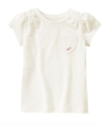 *new* Gymboree Little Girls Size 5T Everyday Favorites Heart Pocket Ivory Top