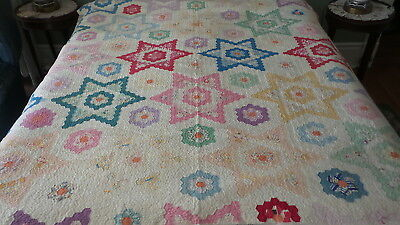 "Antique QUILT, HEXAGON STAR Multi-Color, 66""x78"""