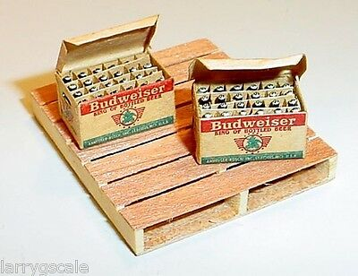 Open Bud Beer Cases (2) W / Bottles 1:24 Scale G Scale Diorama Accessory Items