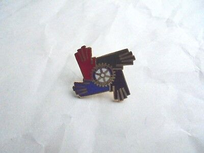 Cool Vintage Rotary International 4 Hands Member Lapel Pin Pinback Button