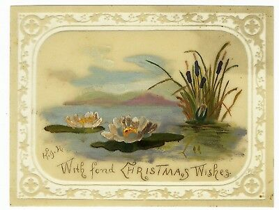 Celluloid VICTORIAN CHRISTMAS Greeting Card HAND PAINTED Water Lilies c 1880's