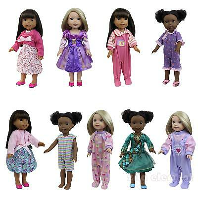 6pcs Various 14.5 inch Handmade Clothes Dress for 18 inch Girl Doll Wellie Dolls