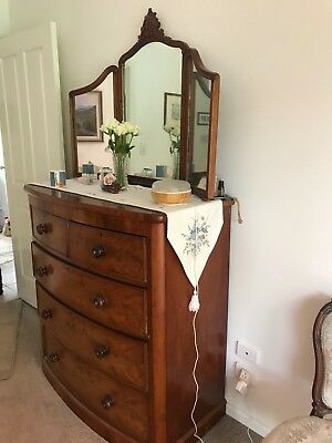 antique chest of 5 drawers with triple mirror above good condition