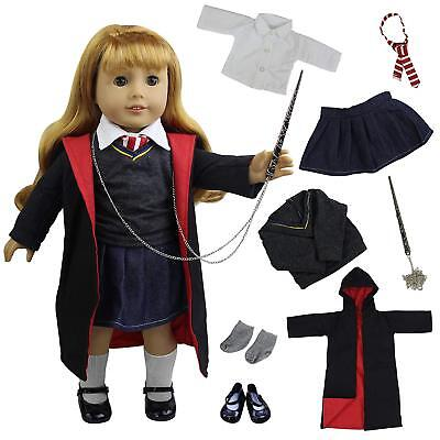 """1Set Harry Potter Hogwarts Outfits Handmade Suit Clothes Shoes for 18"""" Gril Doll"""