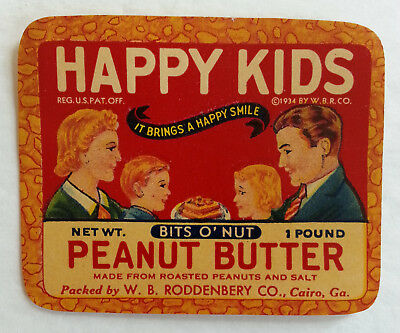 Vintage 1930's Happy Kids Peanut Butter Label W.B. Roddenbery Co. Cairo, Georgia