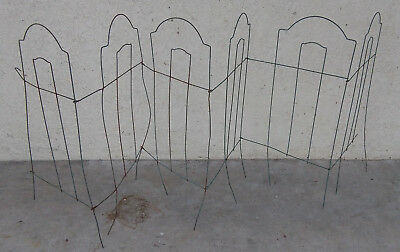 """UNIQUE vtg Rustic GREEN Metal Wire GARDEN FENCE Border~8.5 ft x32""""~SHABBY"""