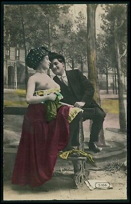 Couple nude busty prostitute garden woman 1910s hand tinted color photo postcard