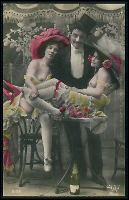 Couple menage a trois prostitute nude old 1910s hand tinted color photo postcard