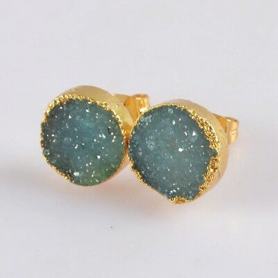 12mm Round Blue Agate Druzy Geode Stud Earrings Gold Plated B071105