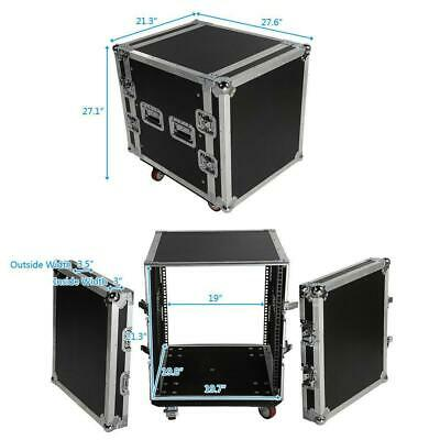 19 Inch Space Rack Case Single Layer Double Door 12U DJ Equipment Cabinet Black