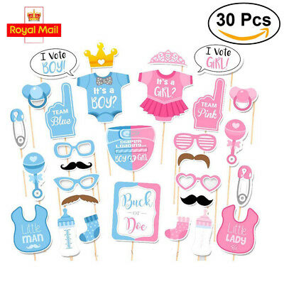 30pcs Baby Shower Vote Boy or Girl Photo Booth Props Party Decorations New UK