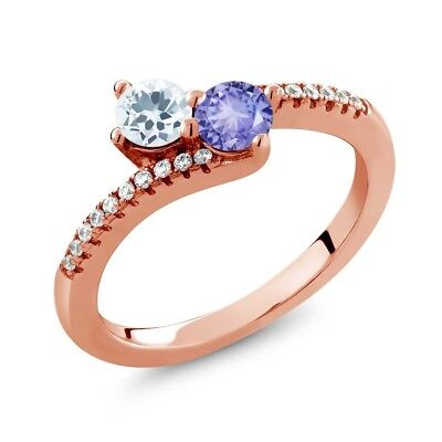 0.76 Ct Sky Blue Aquamarine Tanzanite Two Stone 18K Rose Gold Plated Silver Ring