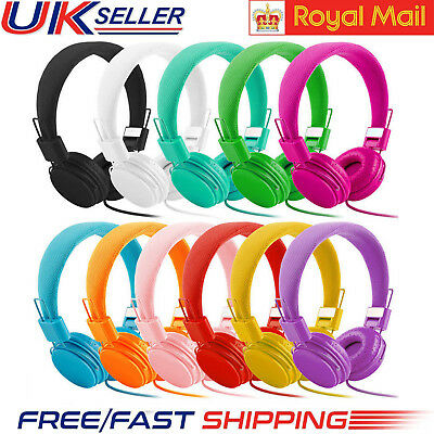 Kids Over Wired Ear Headphones Headband Kids Girl Earphones Pink for iPad Tablet