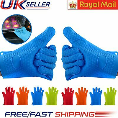 2PACK Gloves Heat Resistant Silicone Gloves Oven Kitchen BBQ Oven Cooking Mitts